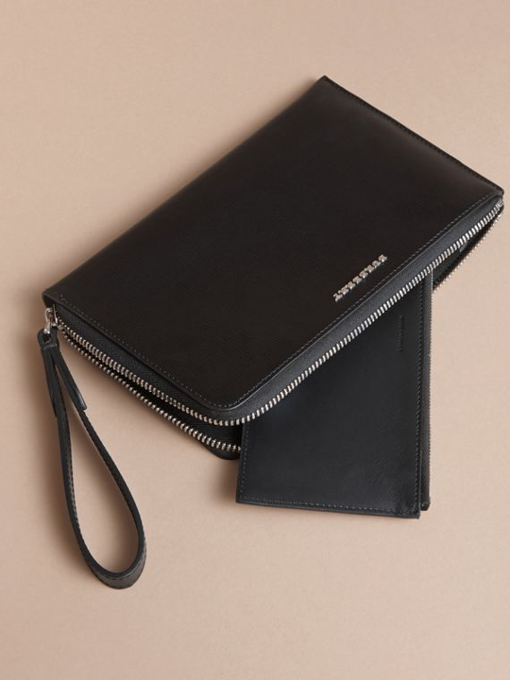 London Leather Travel Wallet in Black | Burberry Canada - cell image 3
