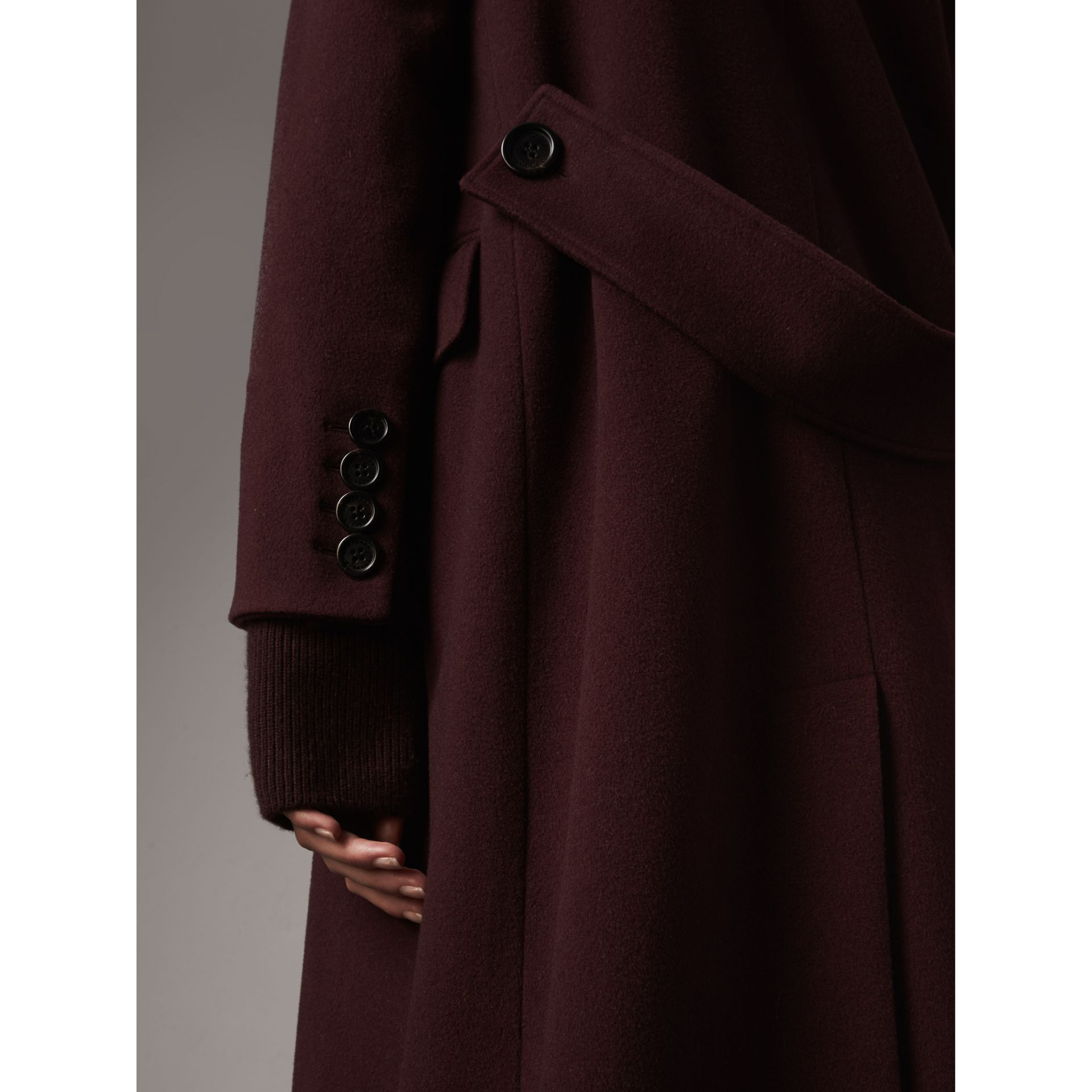 Detachable Rib Knit Collar Cashmere Coat in Blackcurrant - Women | Burberry - gallery image 1