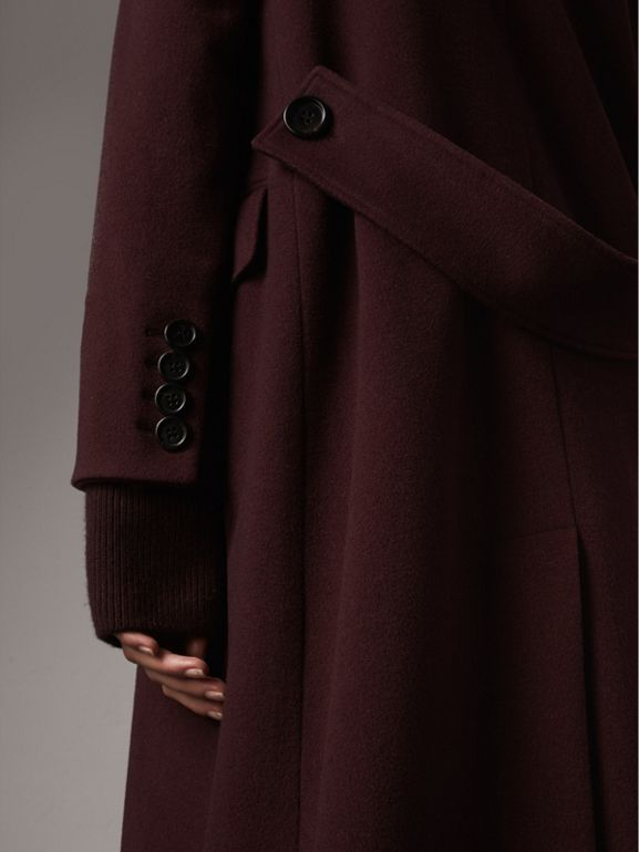 Detachable Rib Knit Collar Cashmere Coat in Blackcurrant - Women | Burberry - cell image 1