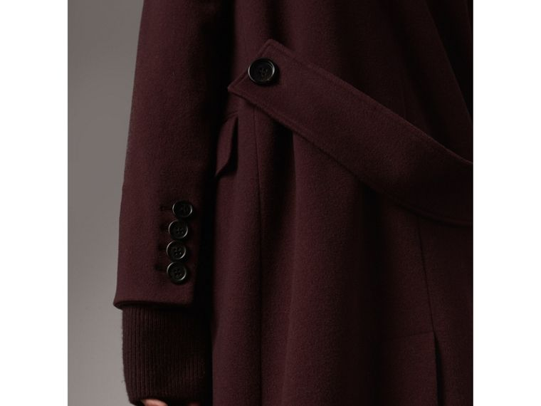 Detachable Rib Knit Collar Cashmere Coat in Blackcurrant - Women | Burberry United States - cell image 1