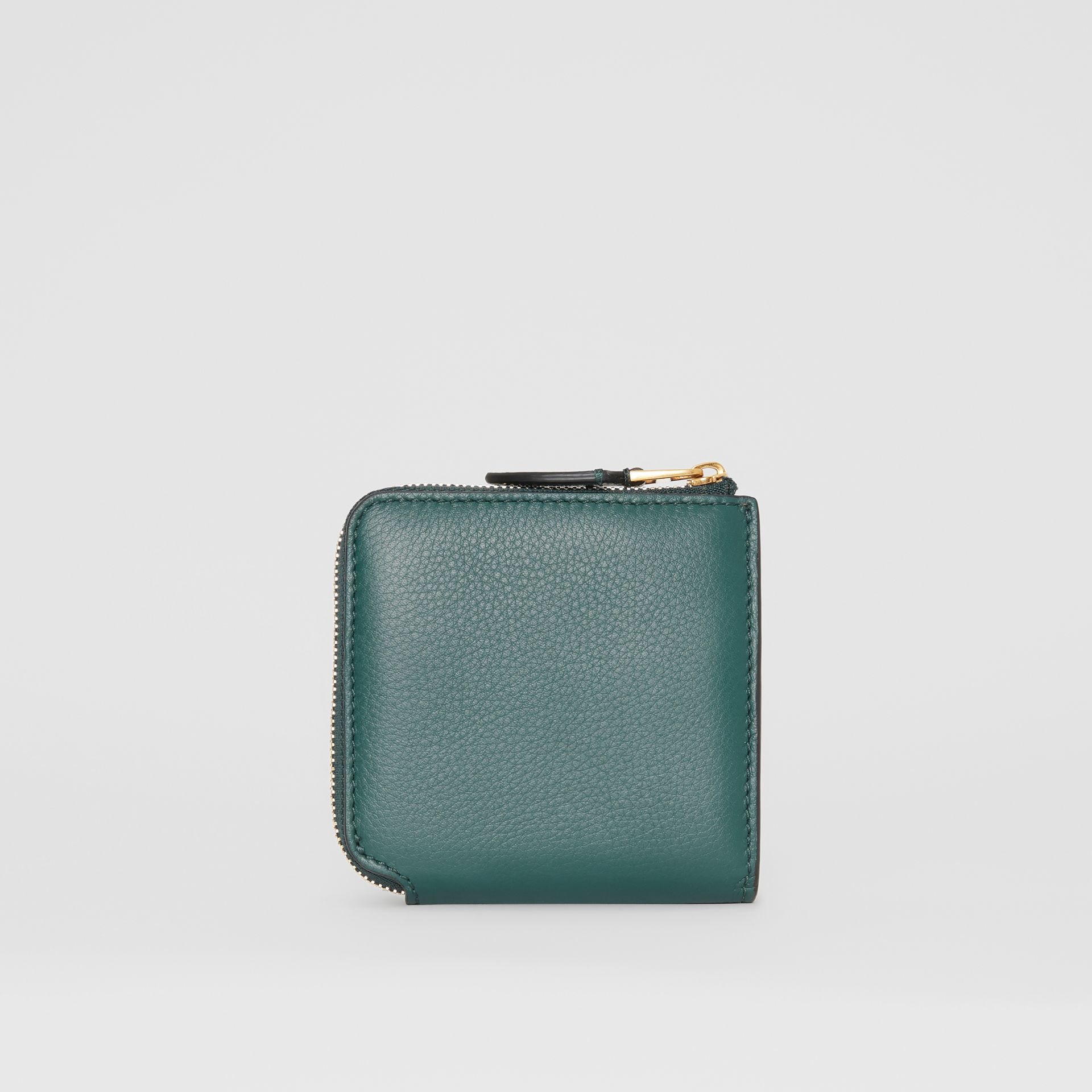 Grainy Leather Square Ziparound Wallet in Dark Cyan - Women | Burberry - gallery image 5