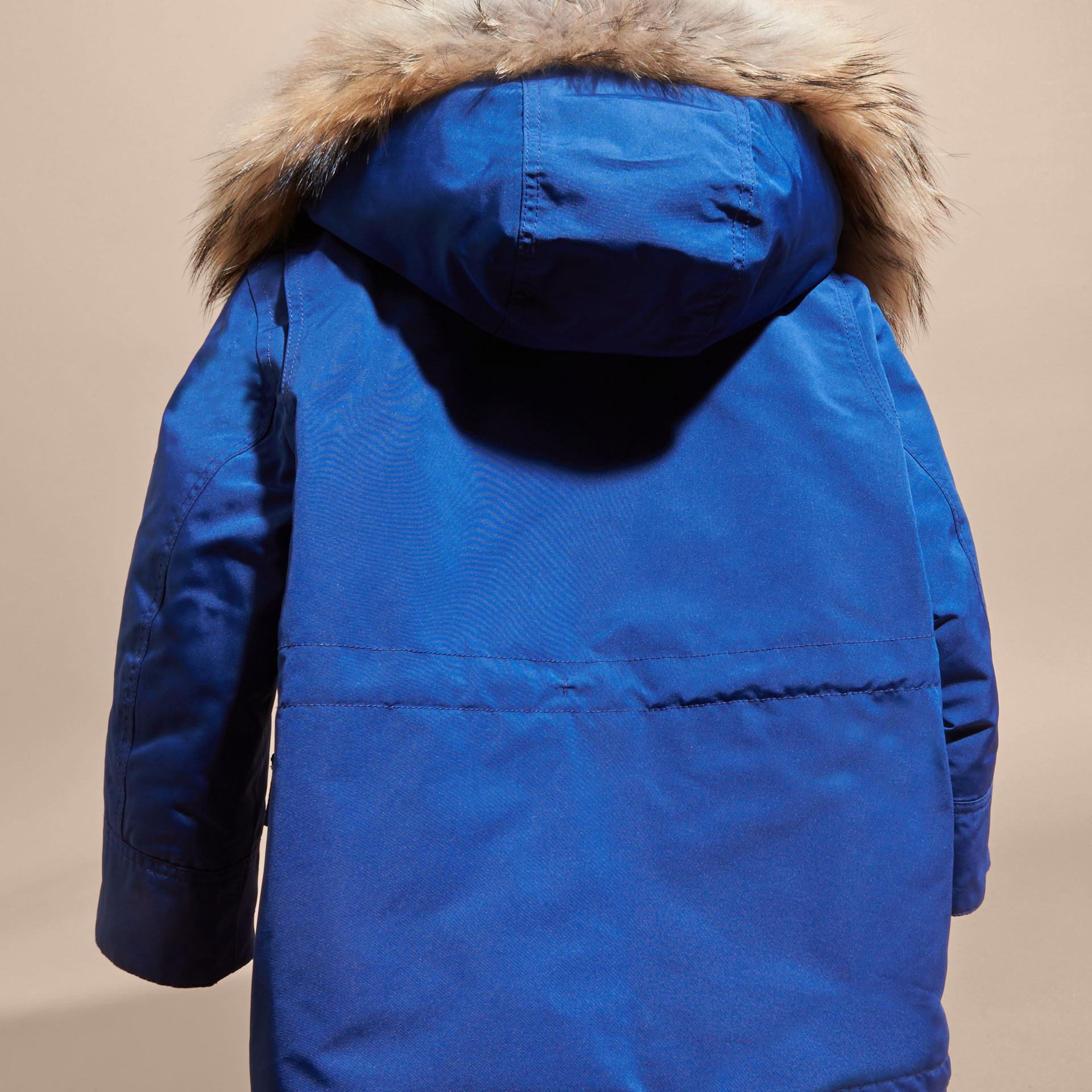 Bright cobalt Fur-Trimmed Down-Filled Hooded Puffer Coat Bright Cobalt - gallery image 4