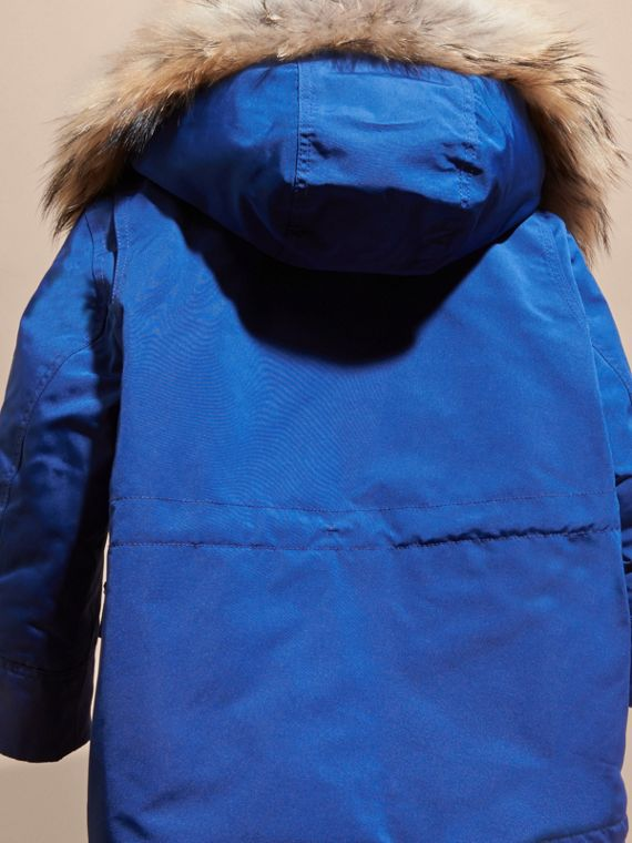 Bright cobalt Fur-Trimmed Down-Filled Hooded Puffer Coat Bright Cobalt - cell image 3