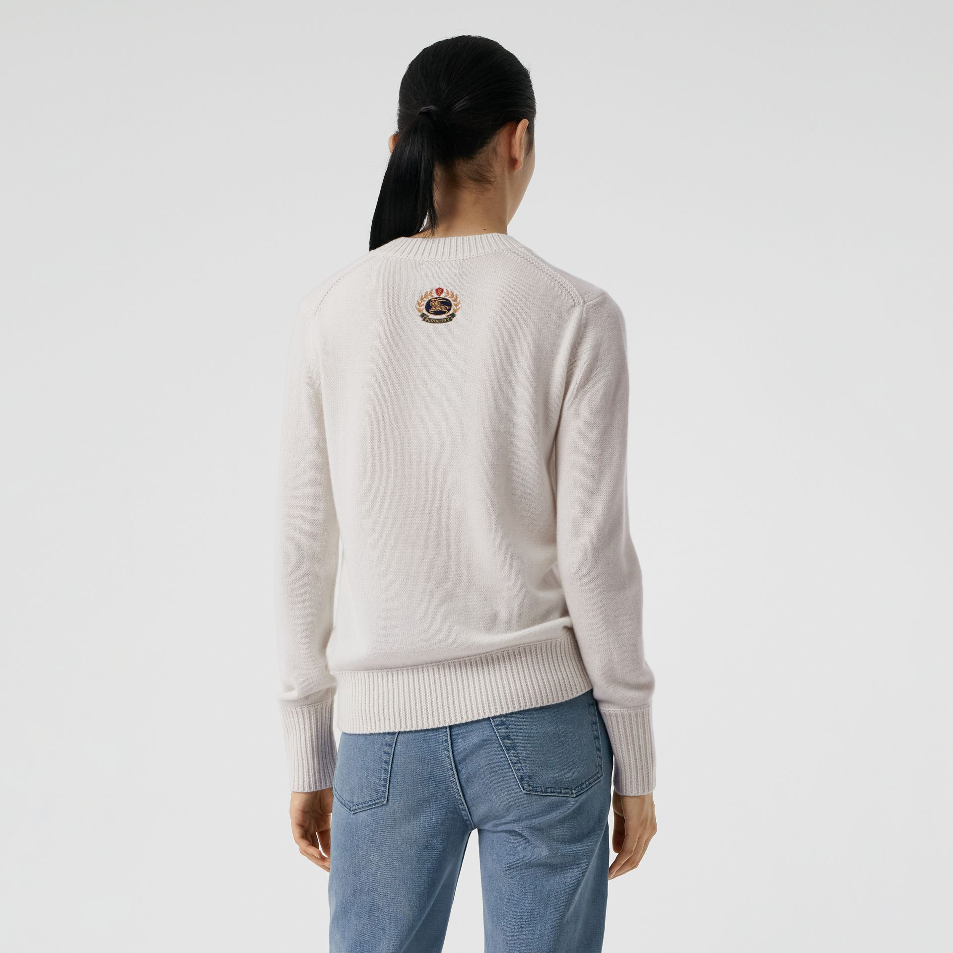 Archive Logo Appliqué Cashmere Sweater in White - Women | Burberry Australia - gallery image 2