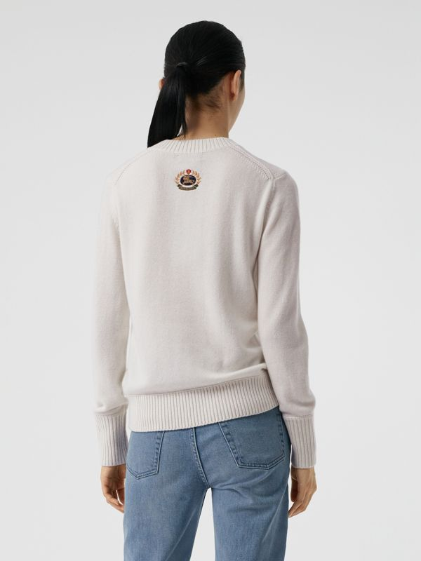 Archive Logo Appliqué Cashmere Sweater in White - Women | Burberry Australia - cell image 2
