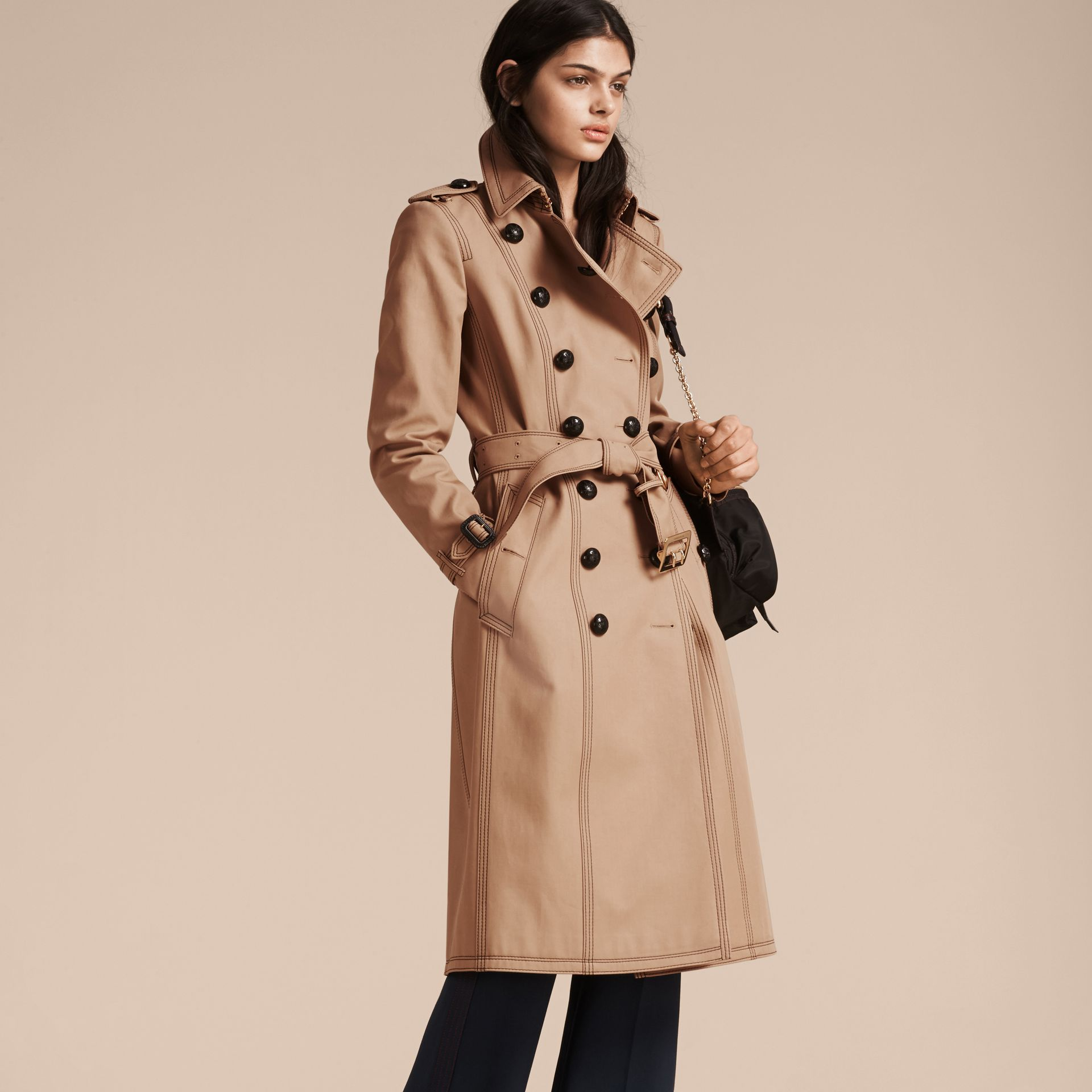 Honey Slim Fit Cotton Trench Coat with Topstitching - gallery image 7