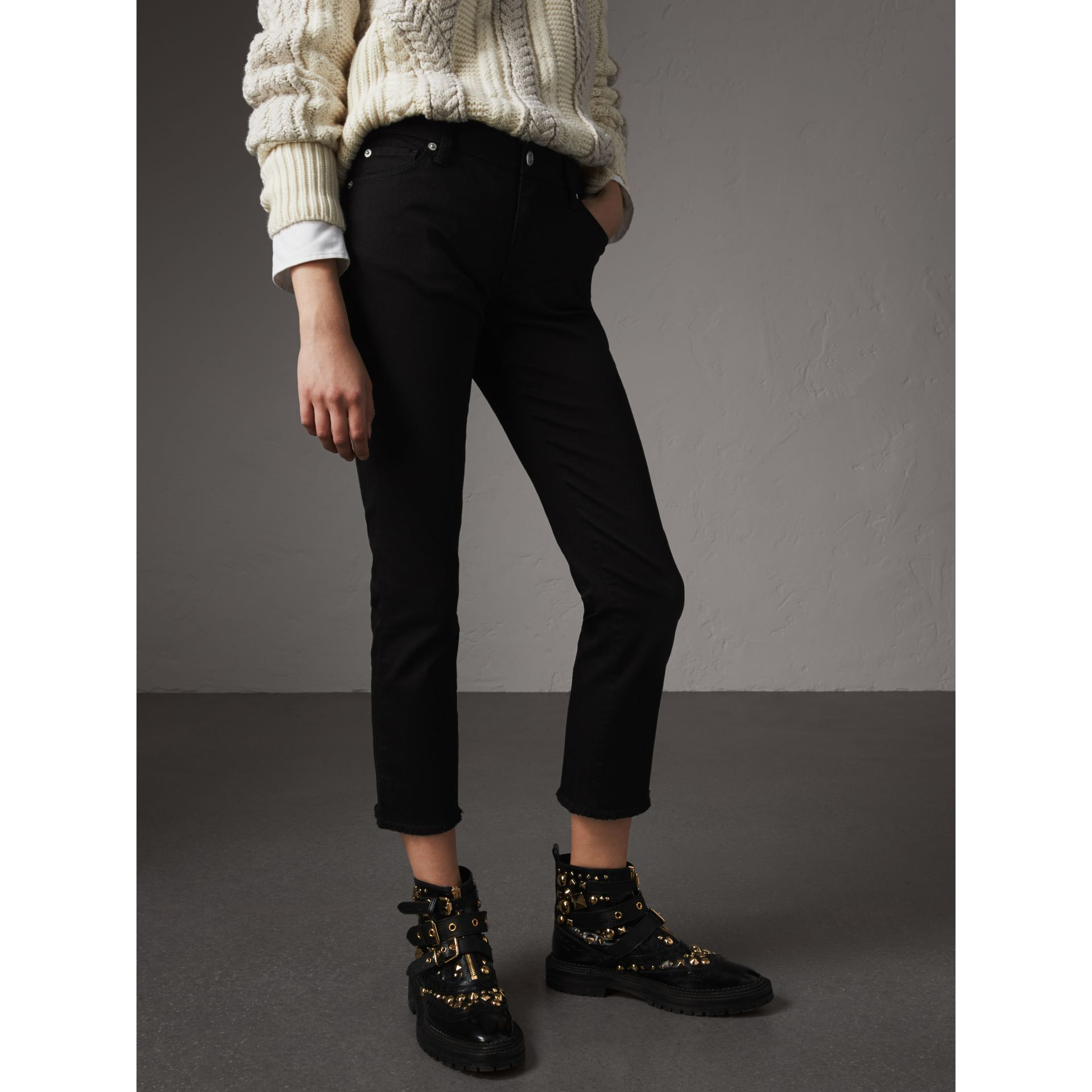Frayed Hem Cropped Jeans in Black - Women | Burberry United Kingdom - gallery image 7