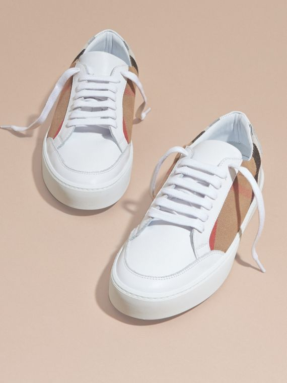 Check Detail Leather Trainers in House Check/ Optic White - Women | Burberry - cell image 2