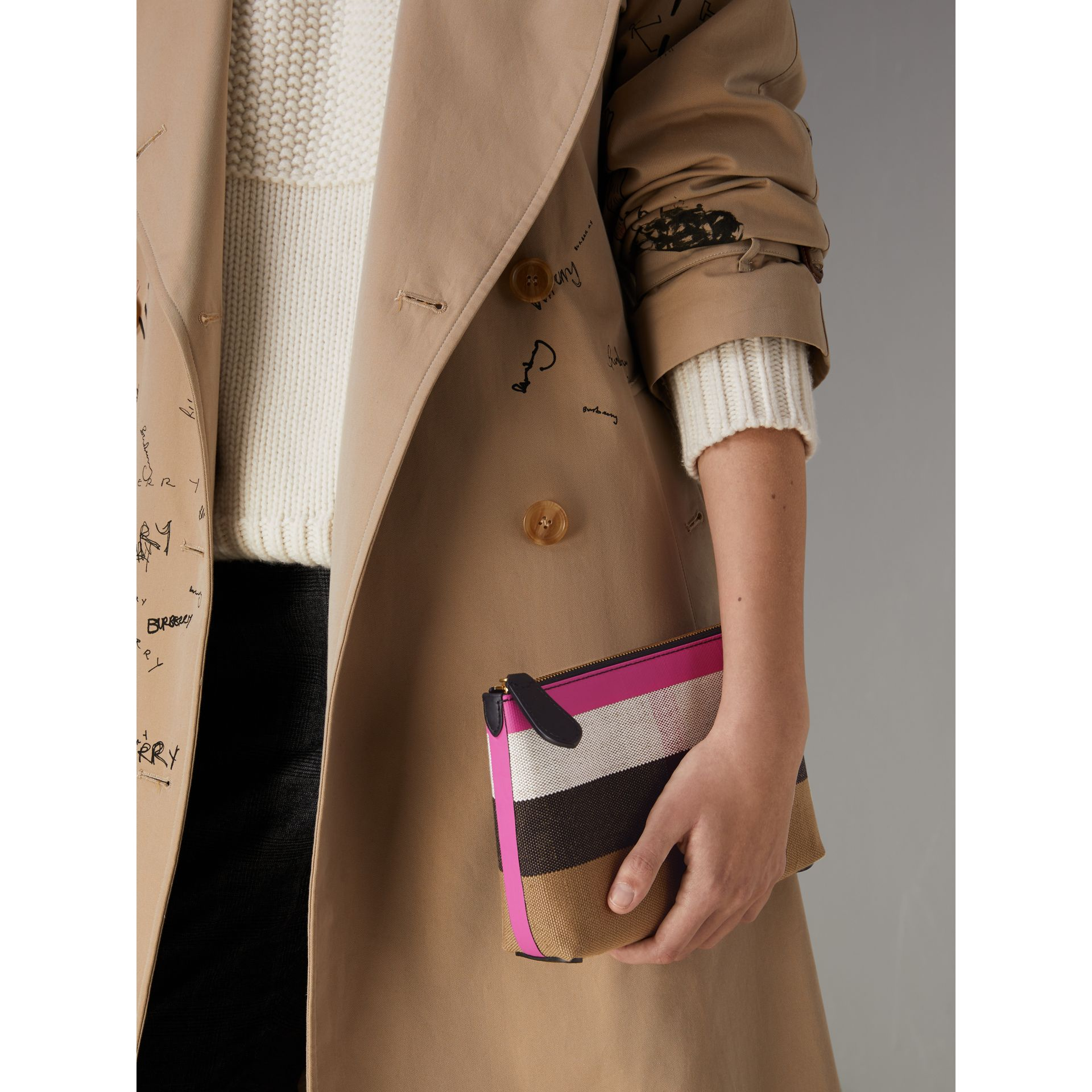 Medium Check Canvas and Leather Zip Pouch in Black/neon Pink - Women | Burberry - gallery image 3