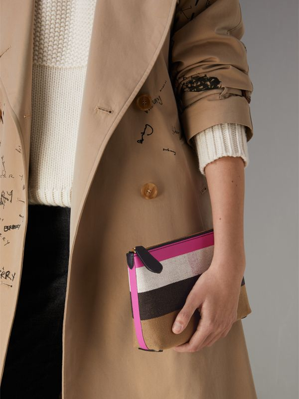 Medium Check Canvas and Leather Zip Pouch in Black/neon Pink - Women | Burberry United Kingdom - cell image 3