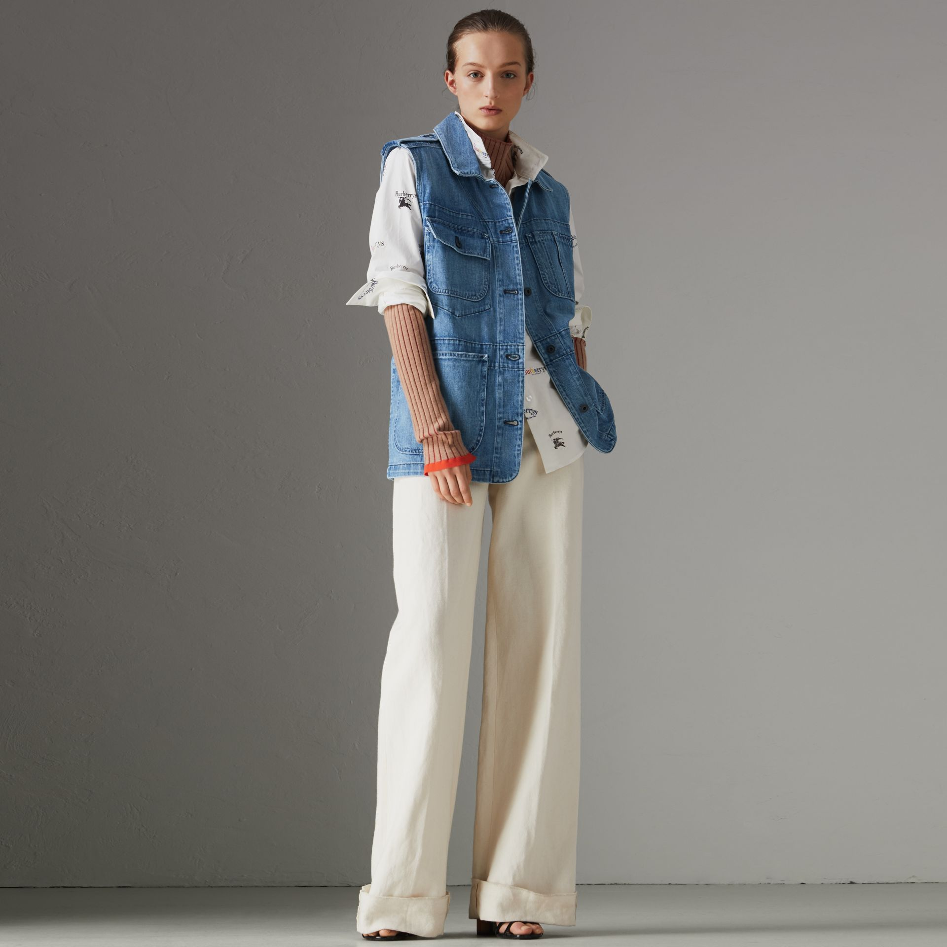 Sleeveless Japanese Denim Jacket in Steel Blue - Women | Burberry - gallery image 0