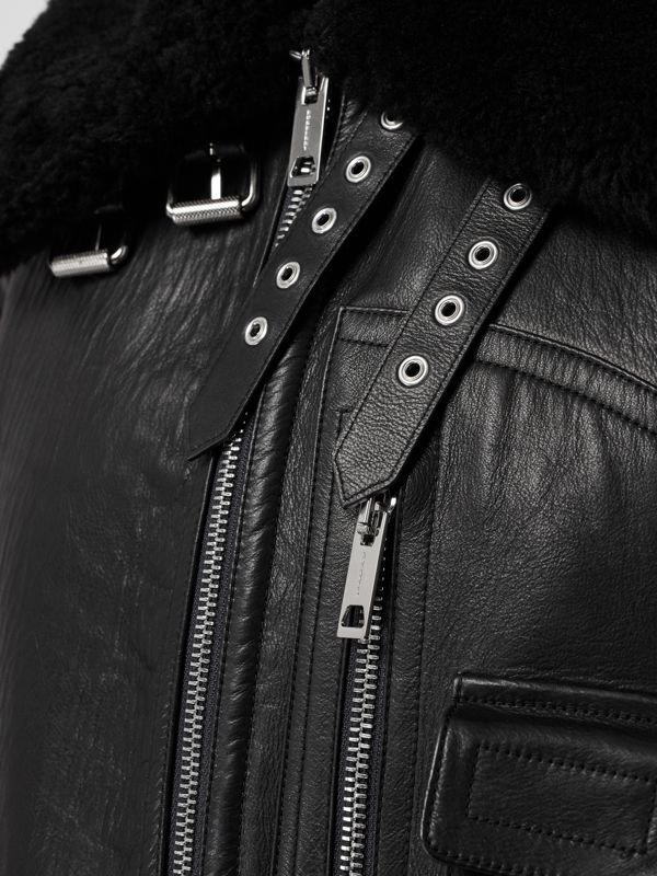 Contrast Sleeve Leather and Shearling Jacket in Black - Women | Burberry - cell image 3