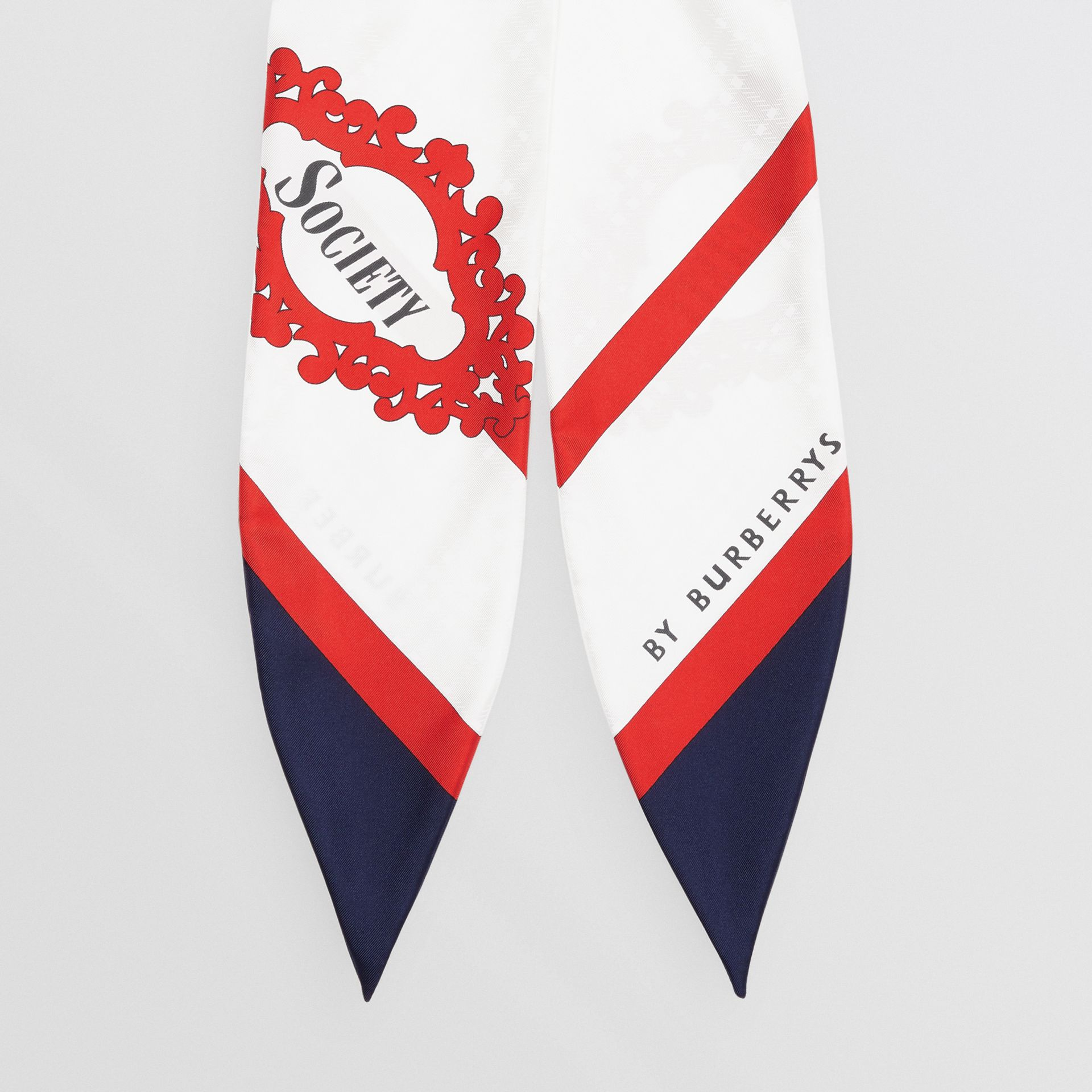 Archive Society Print Silk Hair Scarf in Navy - Women | Burberry United Kingdom - gallery image 3