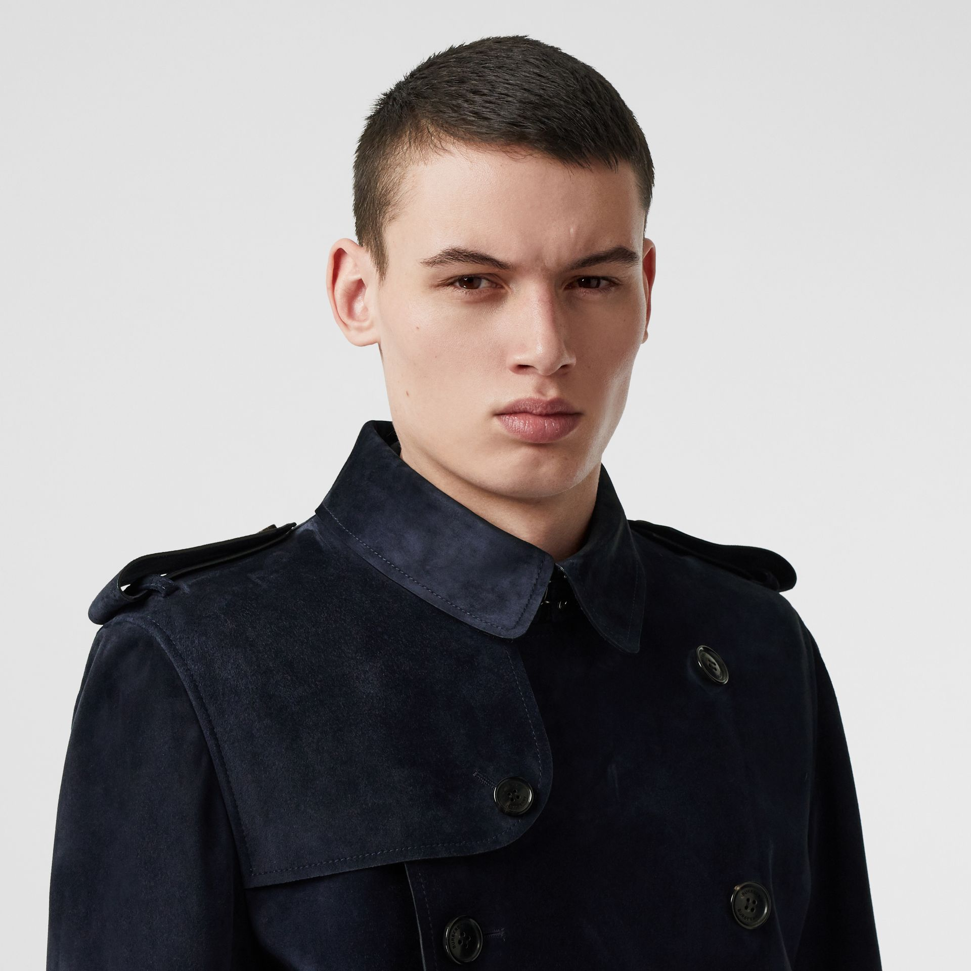 Suede Trench Coat in Navy - Men | Burberry - gallery image 1