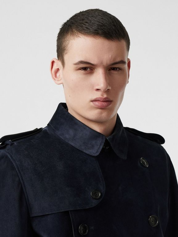 Suede Trench Coat in Navy - Men | Burberry - cell image 1