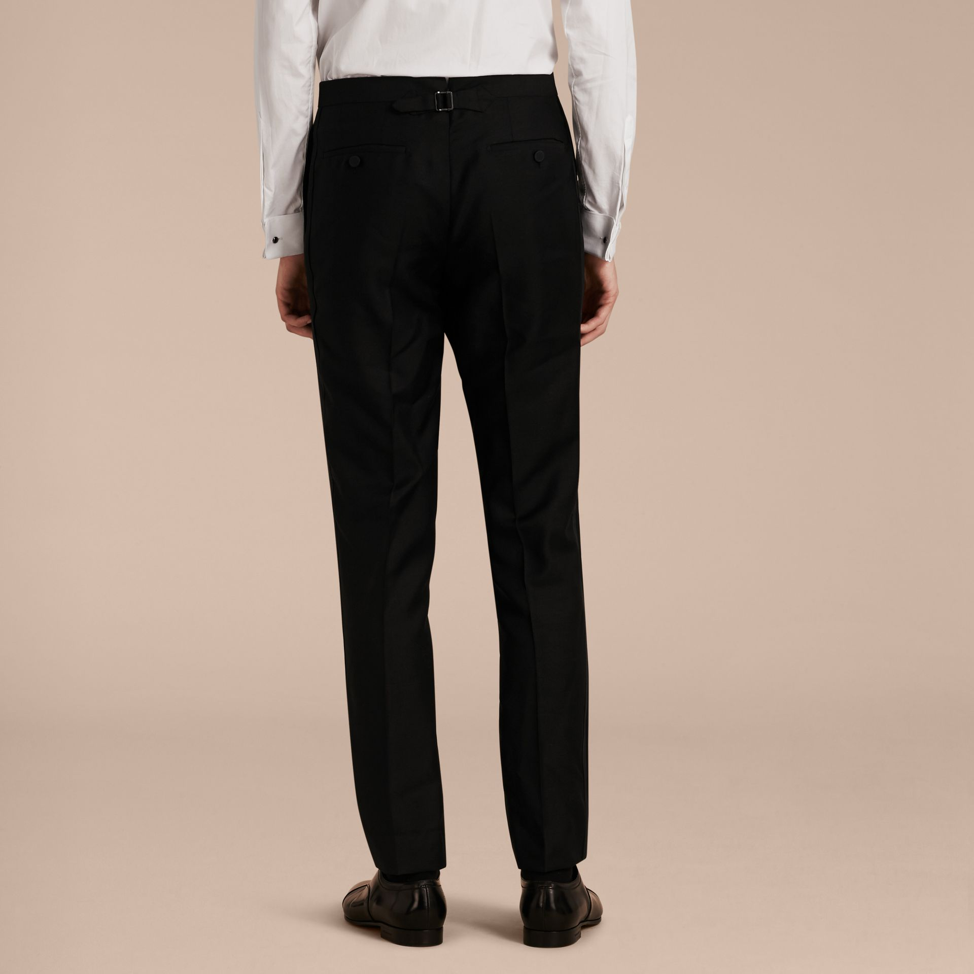 Modern Fit Wool Mohair Tuxedo Trousers in Black - Men | Burberry - gallery image 3
