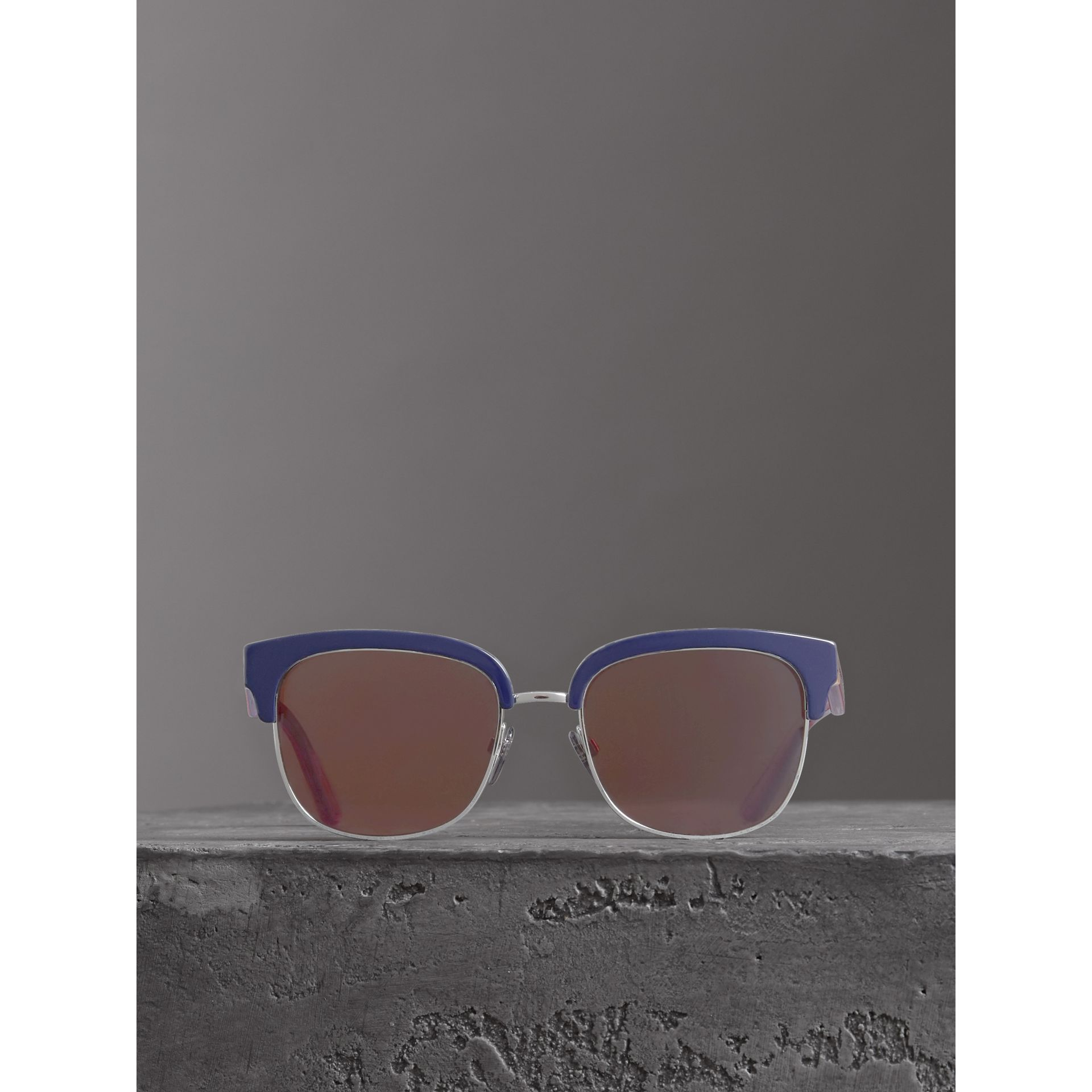 Check Detail D-frame Sunglasses in Blue - Men | Burberry United Kingdom - gallery image 2