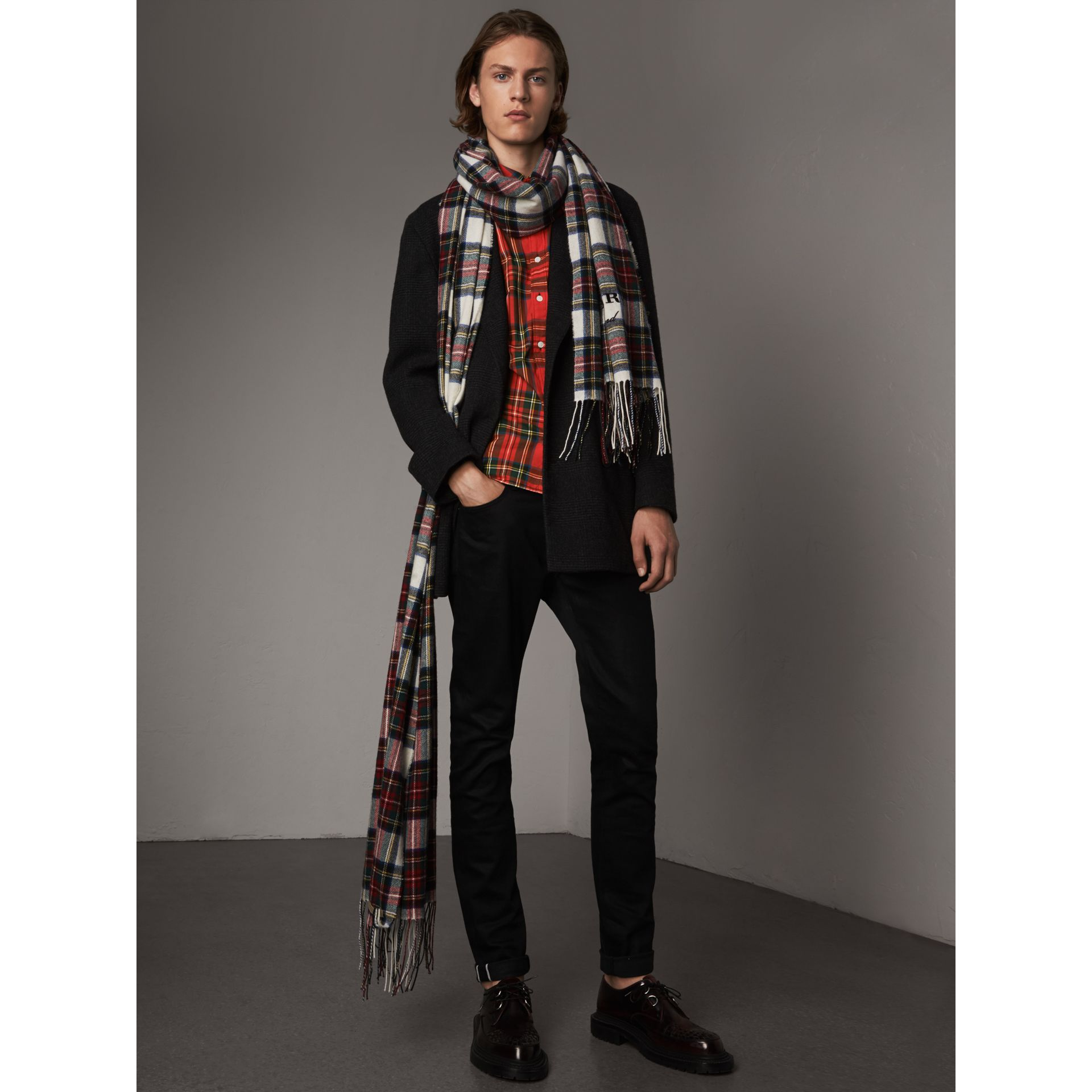 Tartan Cotton Button-down Collar Shirt in Bright Red - Men | Burberry United Kingdom - gallery image 5