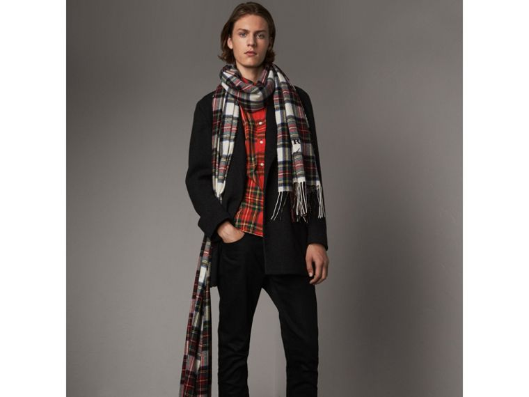 Tartan Cotton Button-down Collar Shirt in Bright Red - Men | Burberry United Kingdom - cell image 4