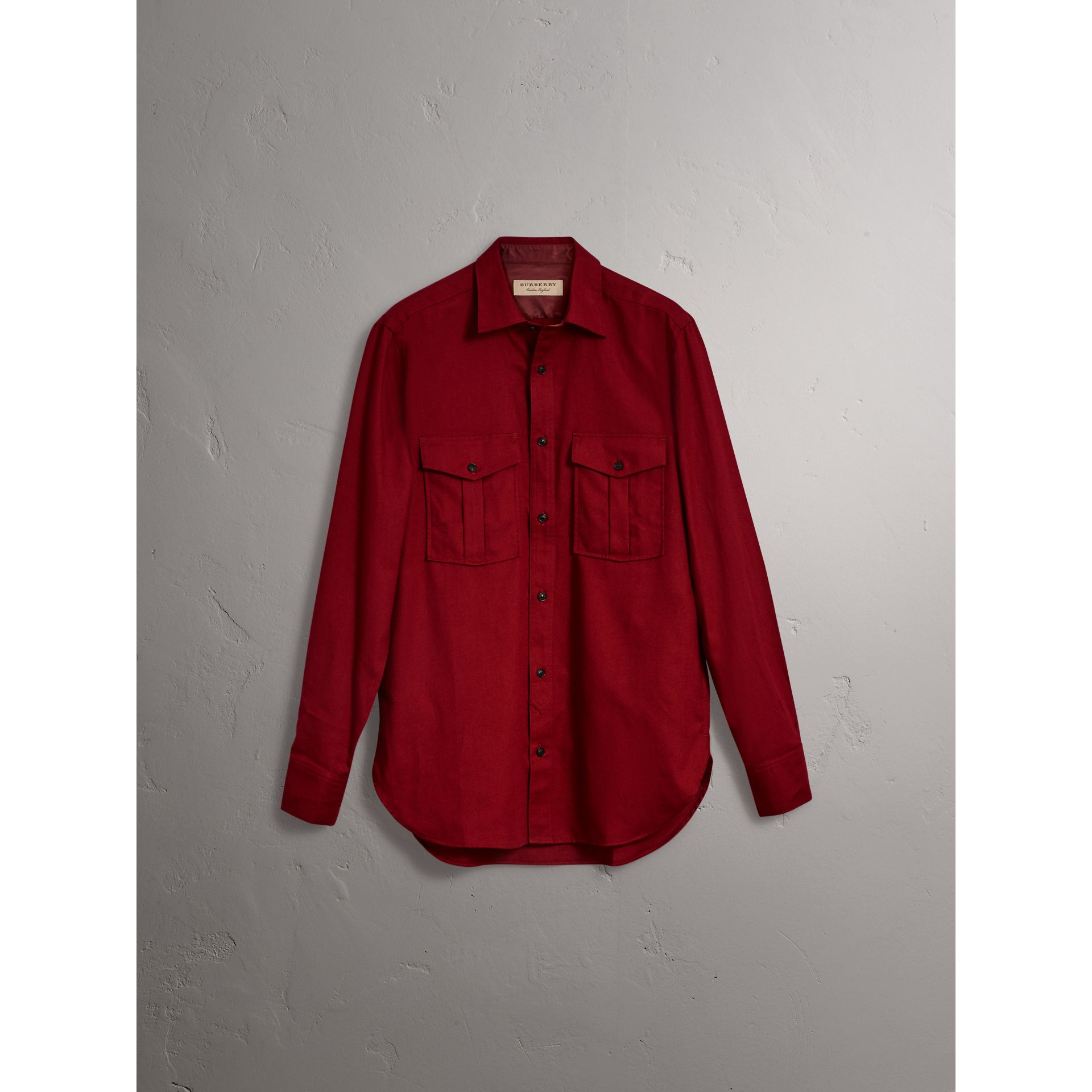 Lightweight Cotton Flannel Shirt in Crimson Red - Men | Burberry - gallery image 3