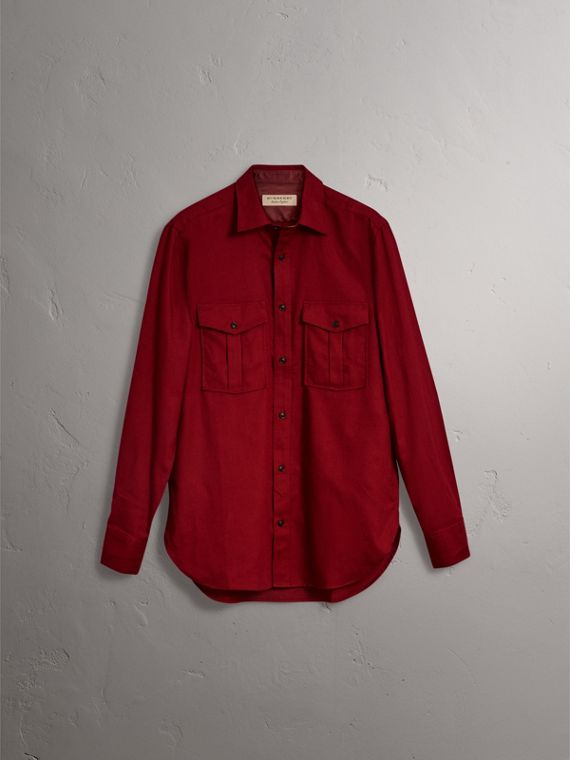 Lightweight Cotton Flannel Shirt in Crimson Red - Men | Burberry - cell image 2