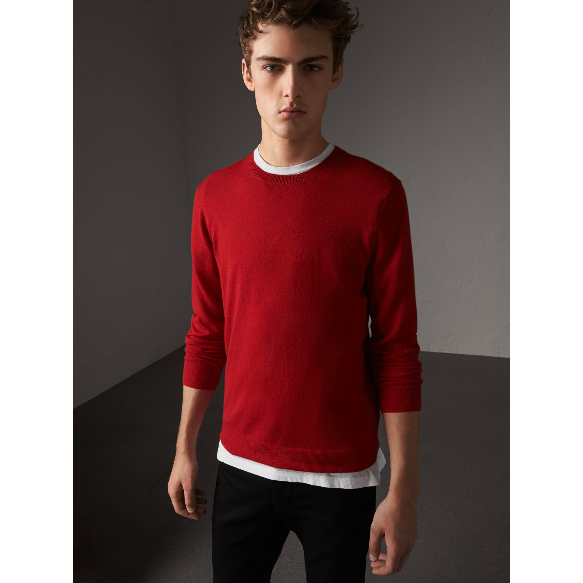 Check Jacquard Detail Cashmere Sweater in Parade Red - Men | Burberry - gallery image 1