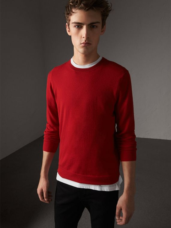 Check Jacquard Detail Cashmere Sweater in Parade Red