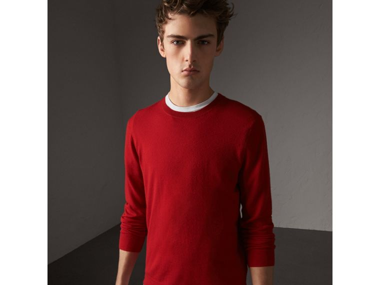 Check Jacquard Detail Cashmere Sweater in Parade Red - Men | Burberry United States - cell image 1