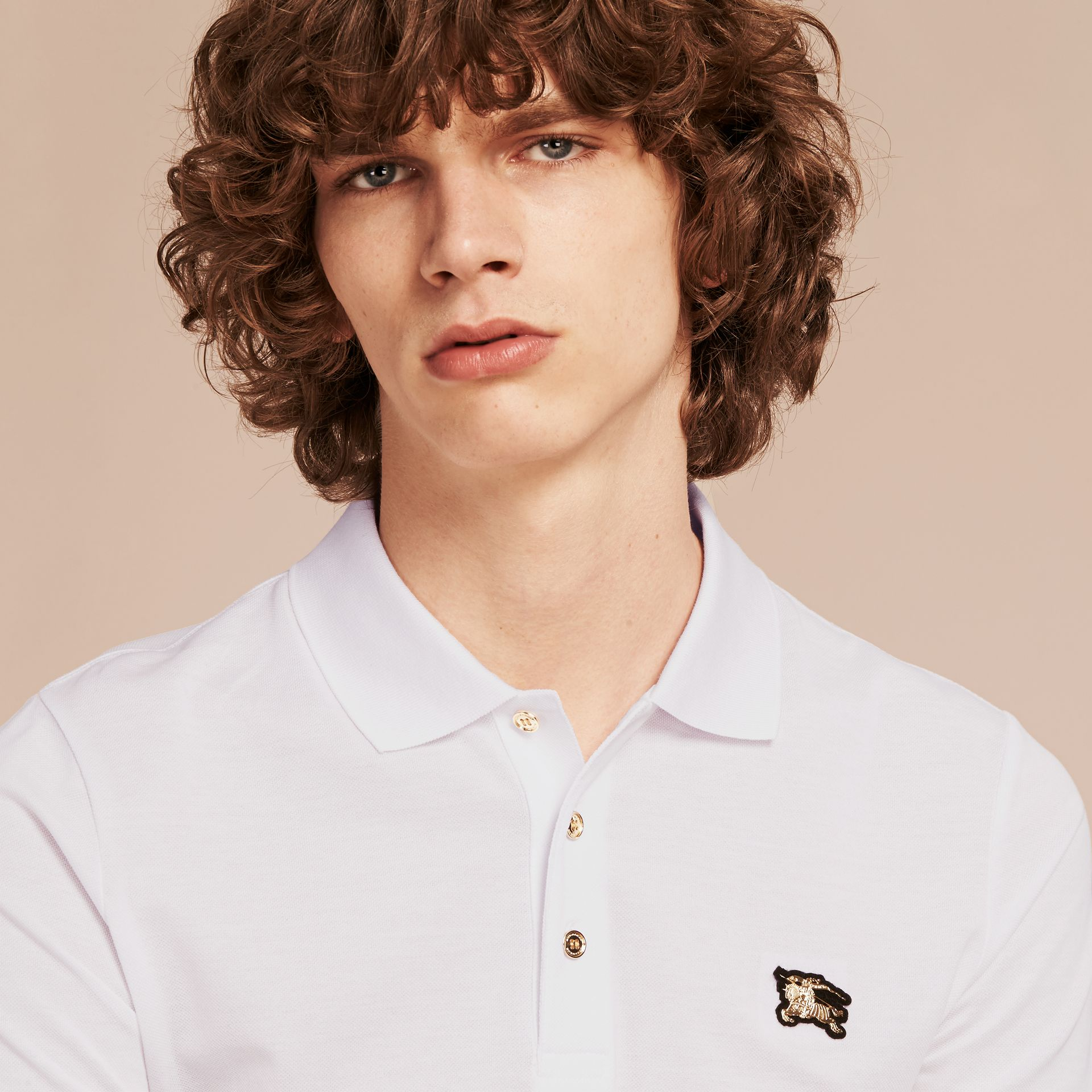 Cotton Piqué Polo Shirt White - gallery image 5