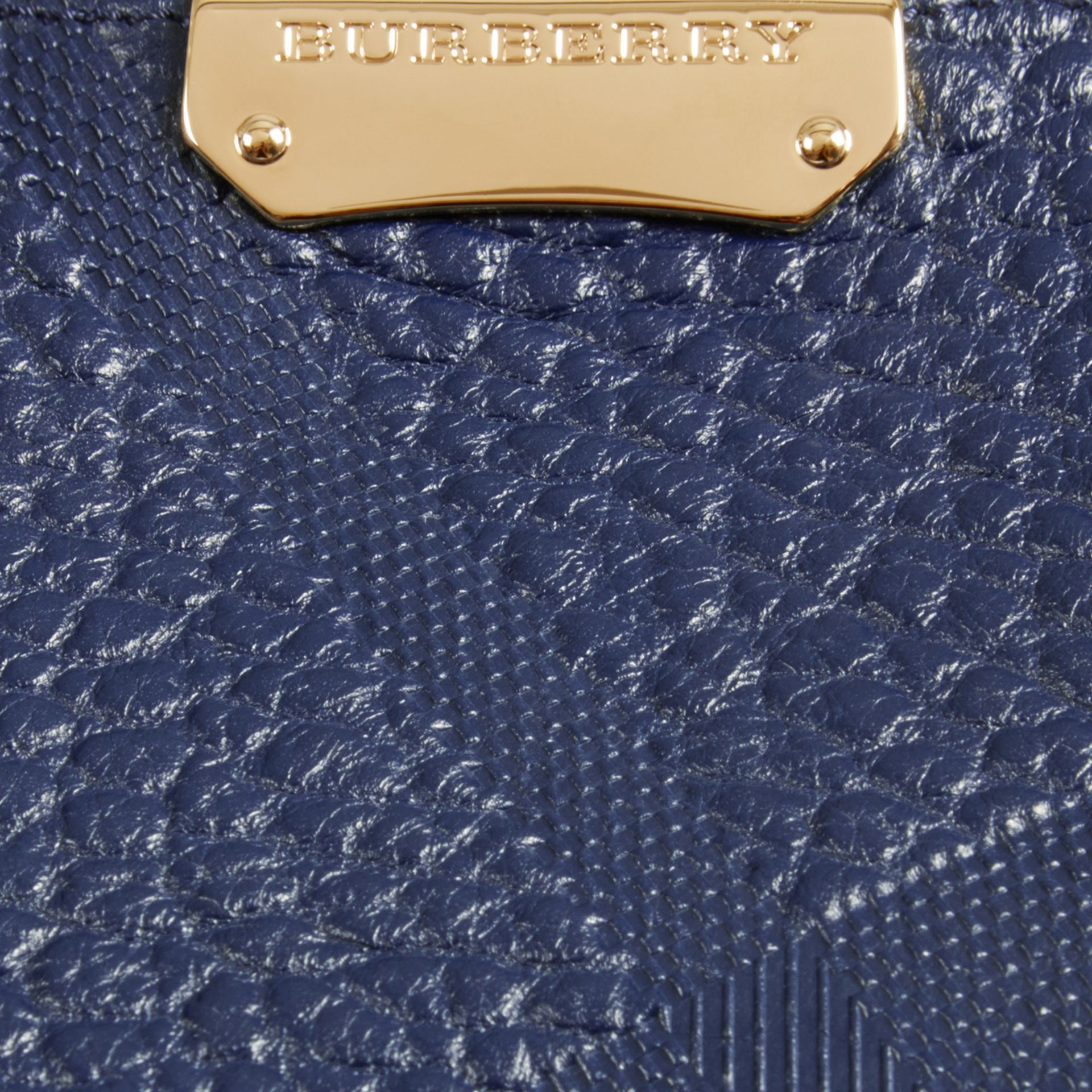 Blue carbon The Small Canter in Check Embossed Leather Blue Carbon - gallery image 2