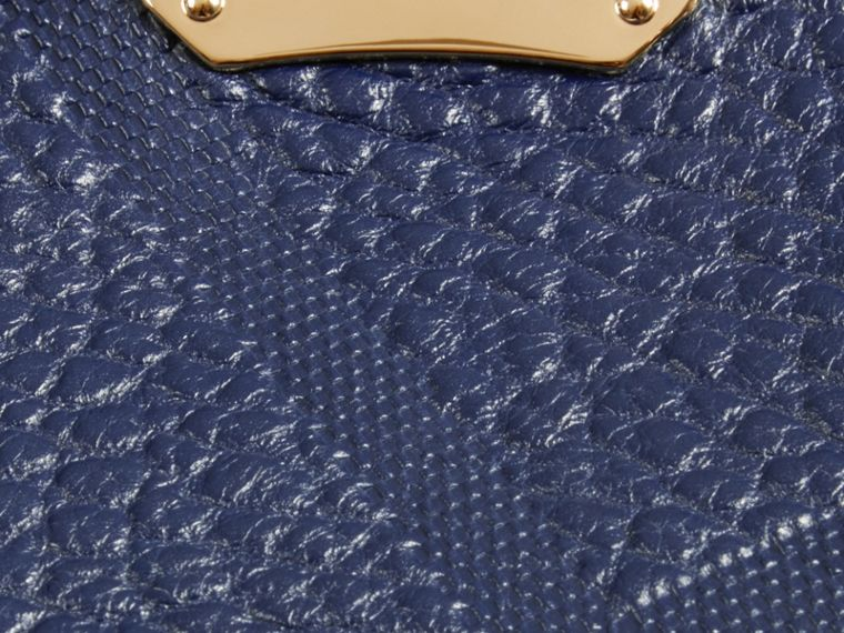 Blue carbon The Small Canter in Check Embossed Leather Blue Carbon - cell image 1