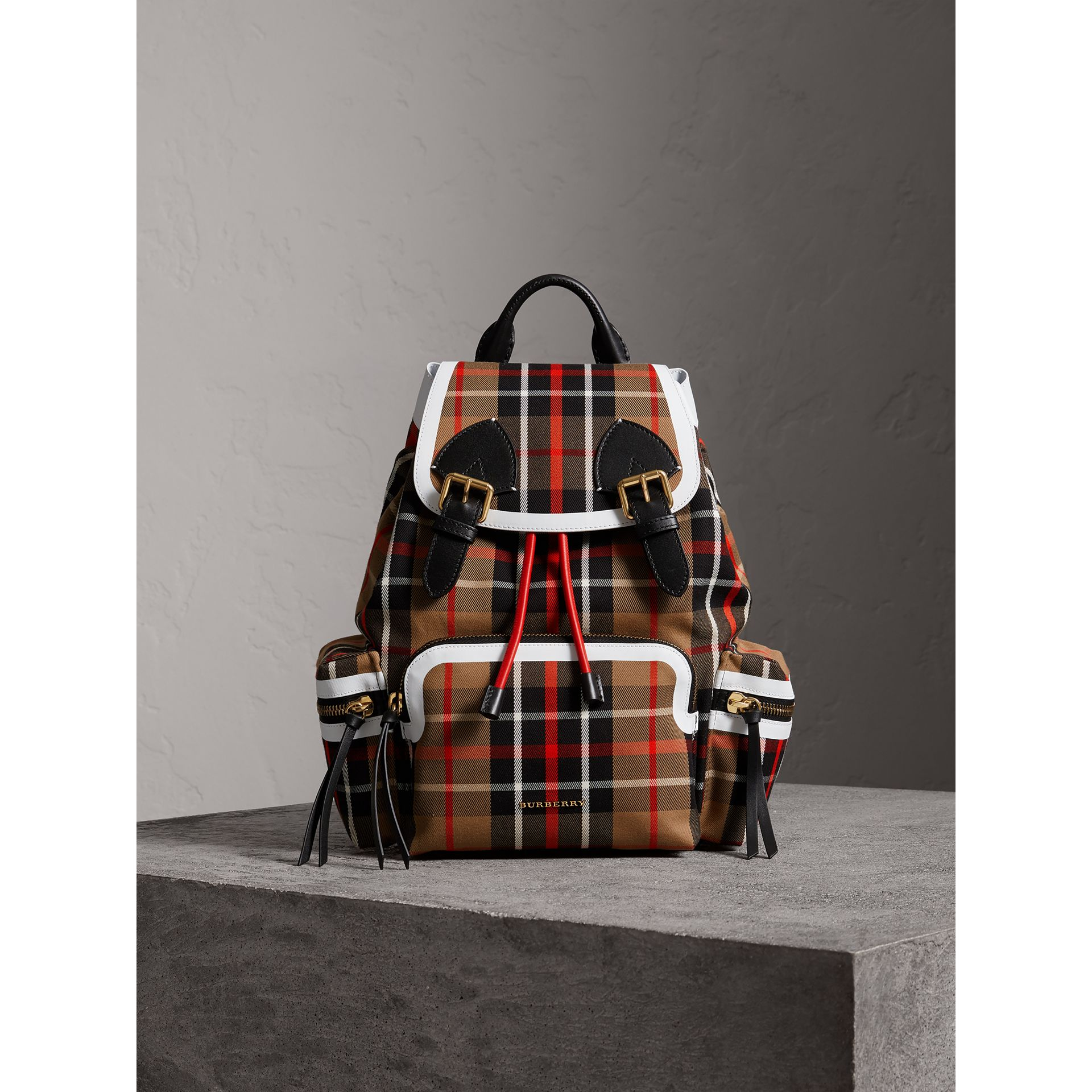 The Medium Rucksack in Check Cotton in Caramel - Women | Burberry - gallery image 6