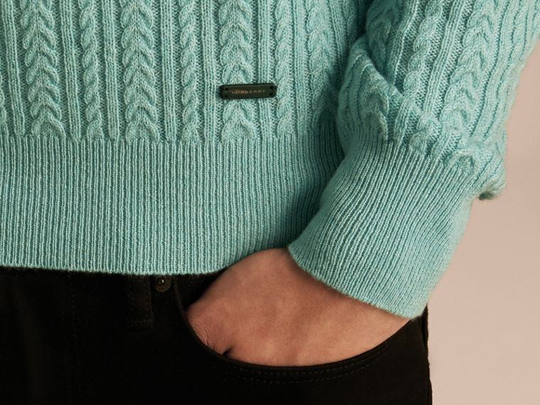 Pale peridot blue Aran Knit Cashmere Sweater Pale Peridot Blue - cell image 4