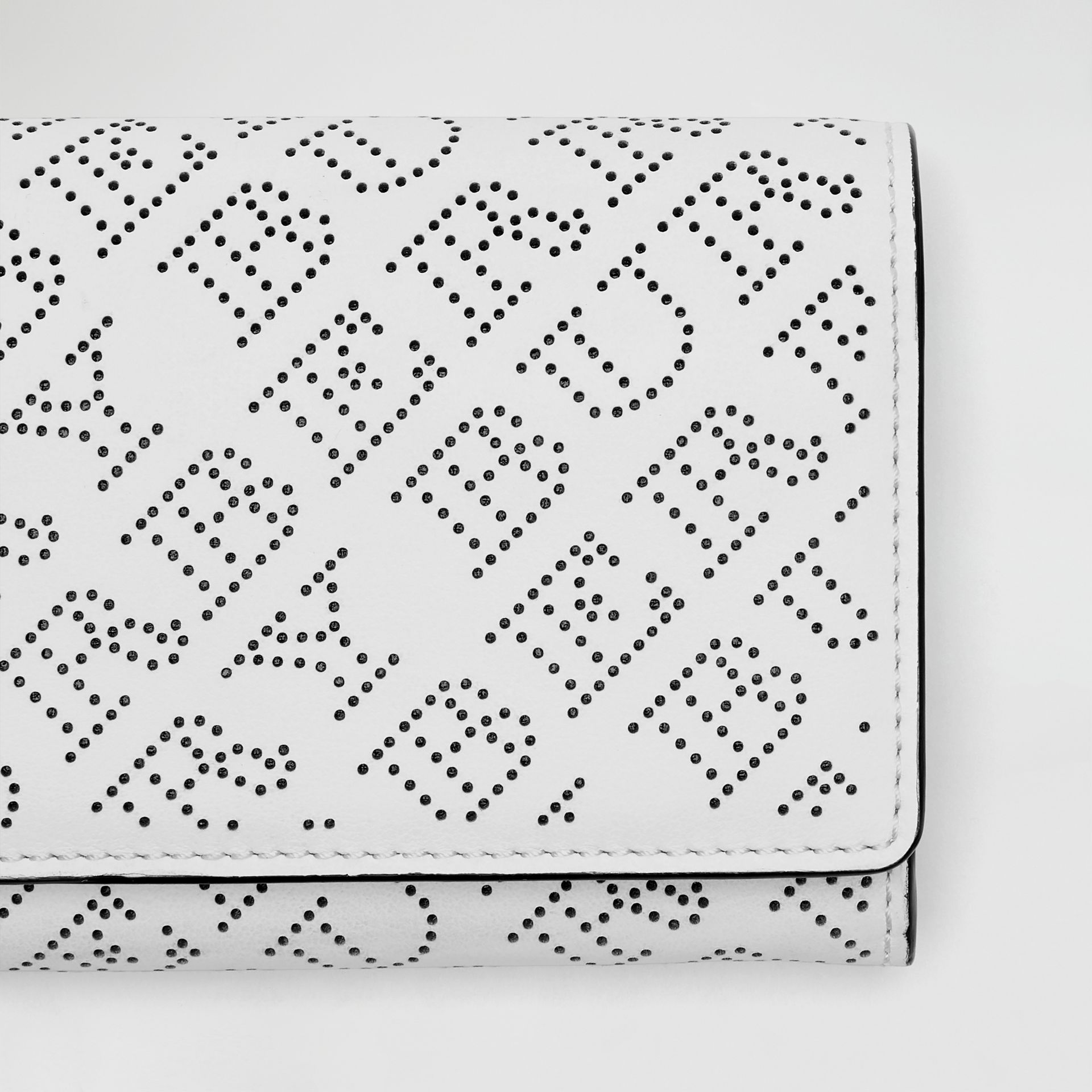 Perforated Logo Leather Continental Wallet in White - Women | Burberry - gallery image 1