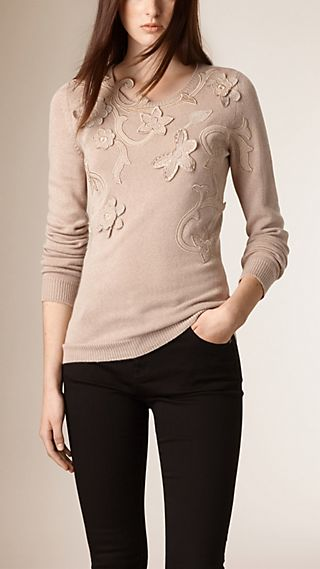 Floral Appliqué Cashmere Cotton Sweater