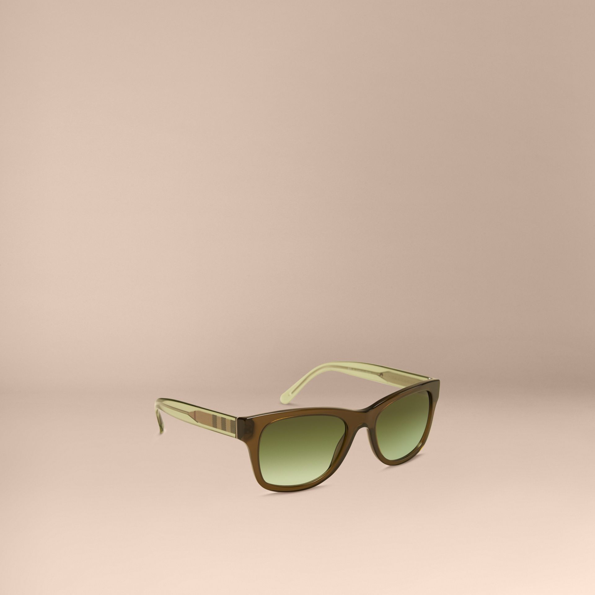 Olive Check Detail Square Frame Sunglasses Olive - gallery image 1
