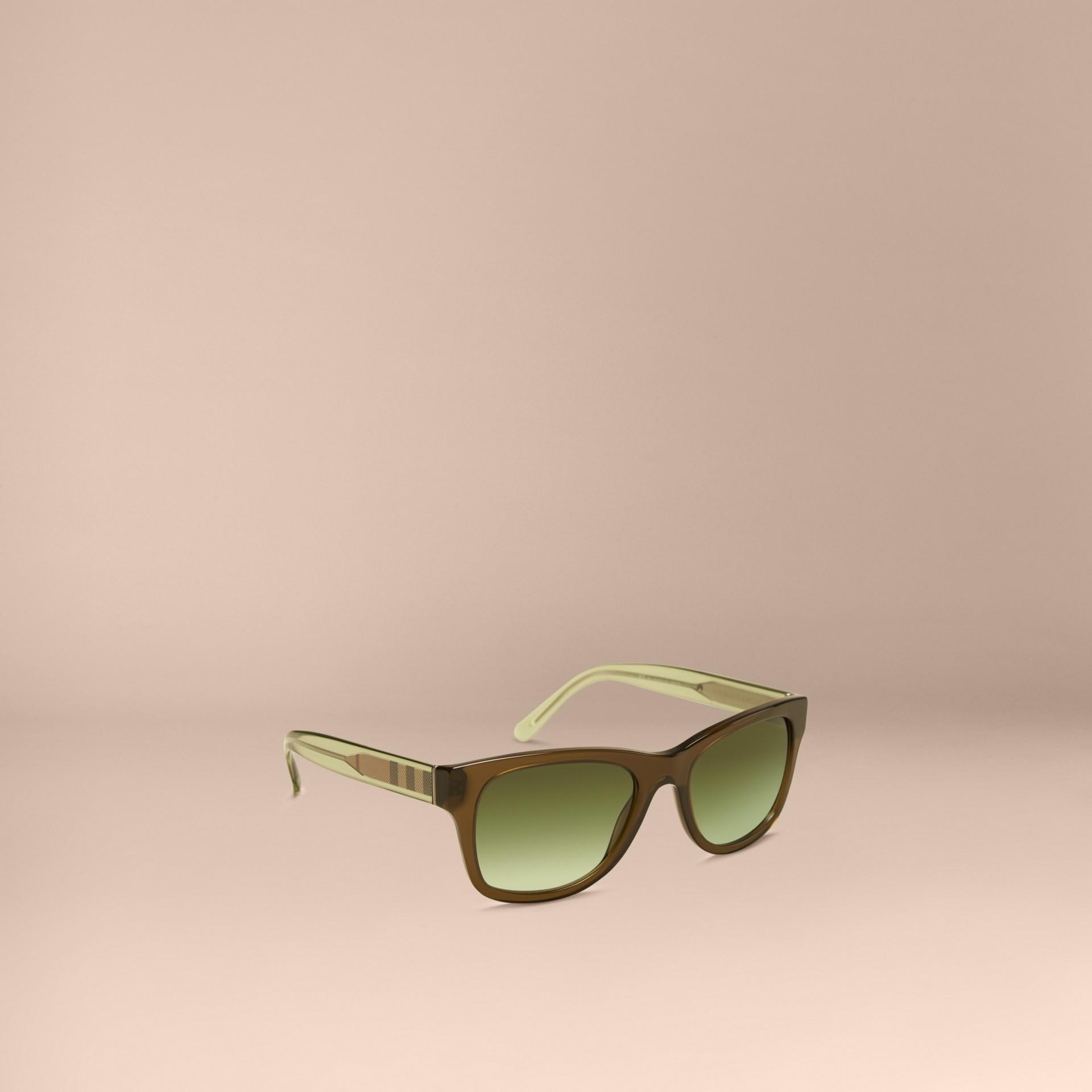 Verde oliva Óculos de sol com armação quadrada e detalhe xadrez Verde Oliva - galeria de imagens 1