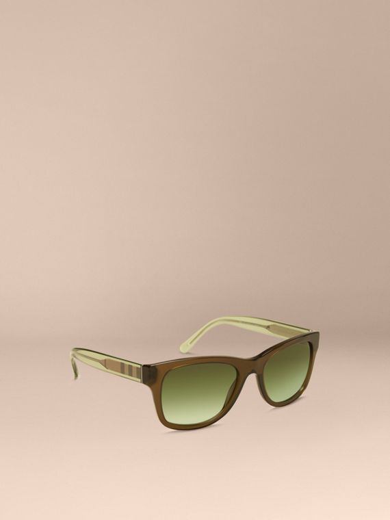Check Detail Square Frame Sunglasses Olive