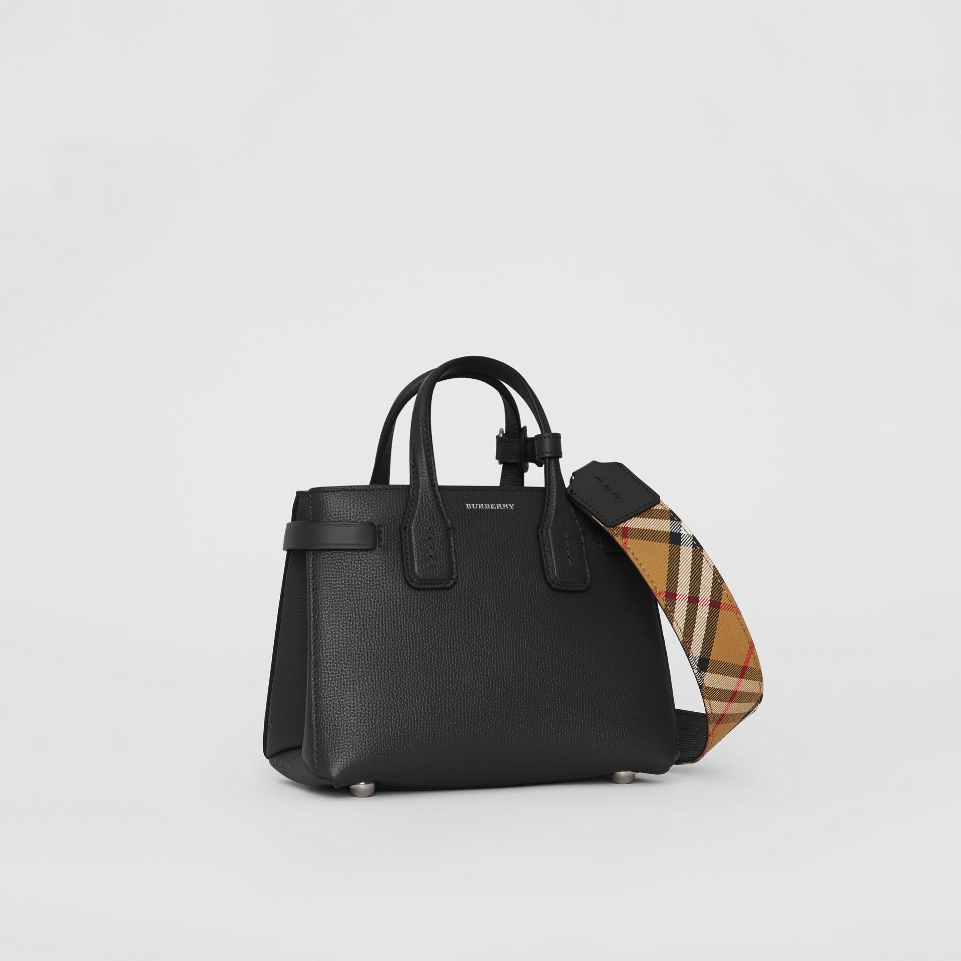 The Baby Banner in Leather and Vintage Check in Black - Women | Burberry Australia - gallery image 0