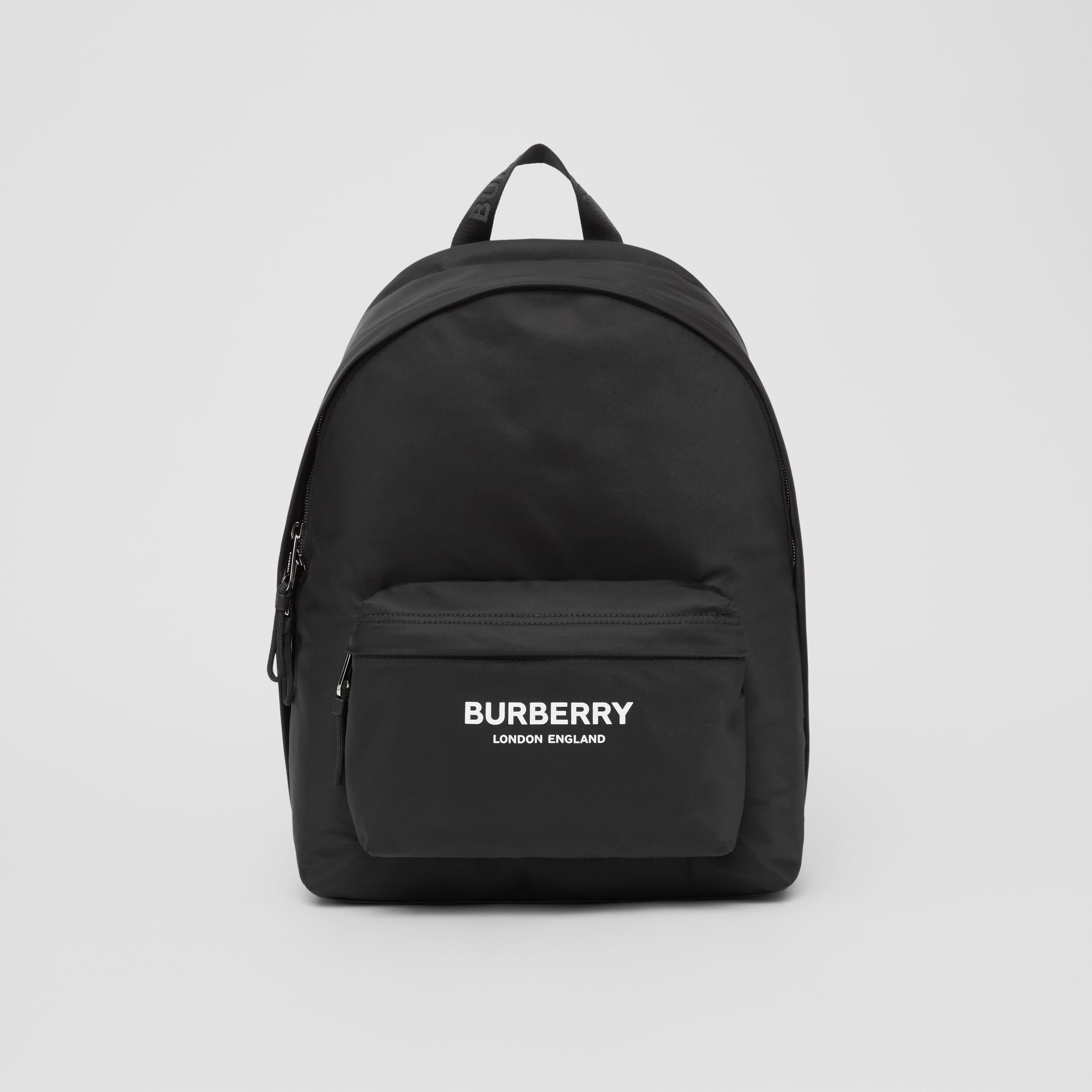 Logo Print ECONYL® Backpack in Black | Burberry - 1