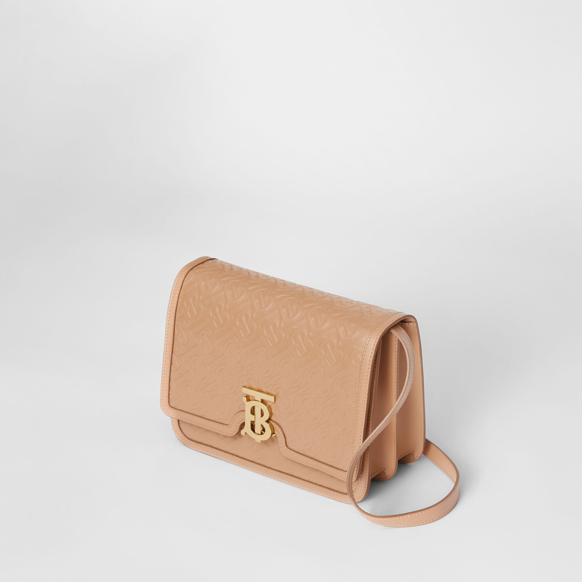 Medium Monogram Leather TB Bag in Light Camel - Women | Burberry - gallery image 2