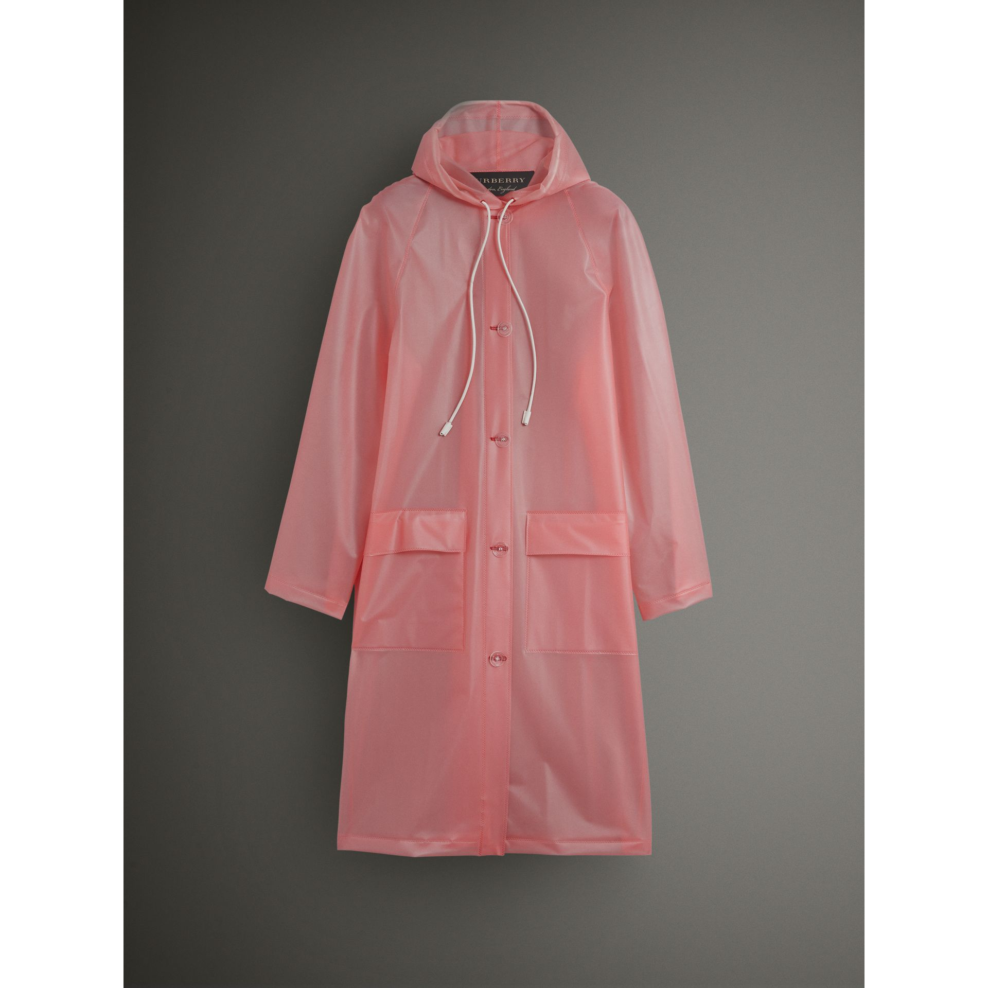 Soft-touch Plastic Hooded Coat in Rose Pink - Women | Burberry United Kingdom - gallery image 4