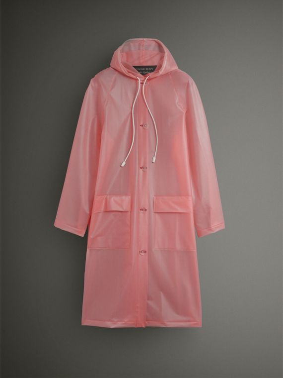 Soft-touch Plastic Hooded Coat in Rose Pink - Women | Burberry United States - cell image 3