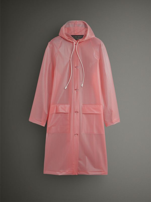 Soft-touch Plastic Hooded Coat in Rose Pink - Women | Burberry - cell image 3
