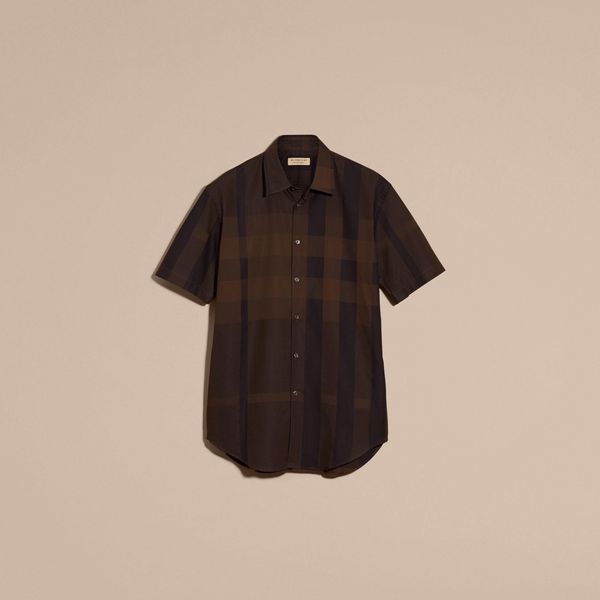 Chocolate check Short-sleeved Check Cotton Shirt Chocolate - gallery image 4