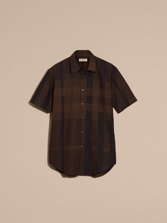 Chocolate check Short-sleeved Check Cotton Shirt Chocolate - cell image 3
