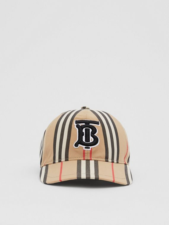 Monogram Motif Icon Stripe Cotton Baseball Cap in Archive Beige