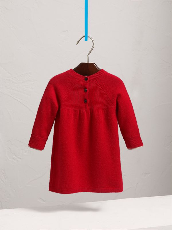 Check Cuff Knitted Cashmere Dress in Parade Red | Burberry - cell image 3