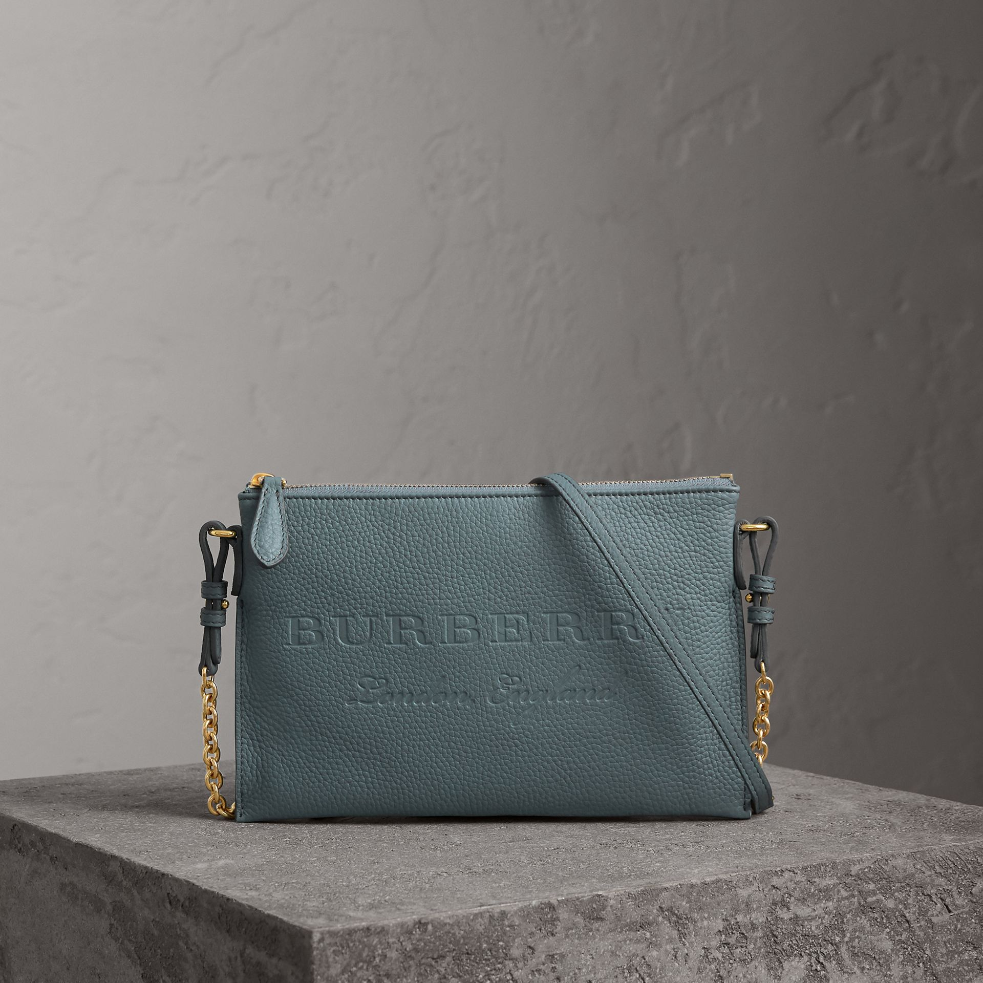 Embossed Leather Clutch Bag in Dusty Teal Blue - Women | Burberry United Kingdom - gallery image 0