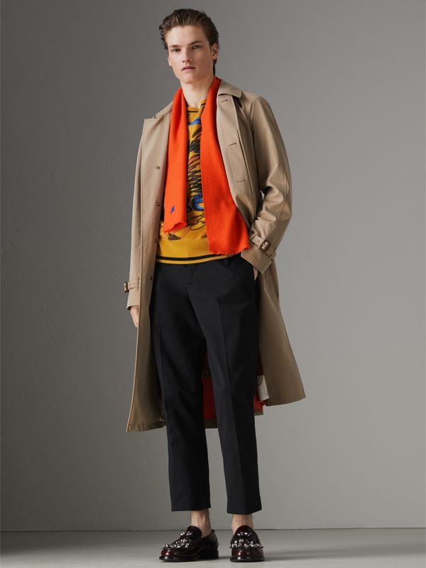Embroidered Felted Wool Scarf in Clementine | Burberry Australia - cell image 2